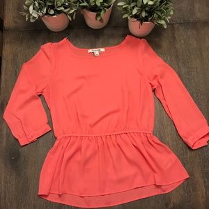 Forever 21 peplum coral chiffon top